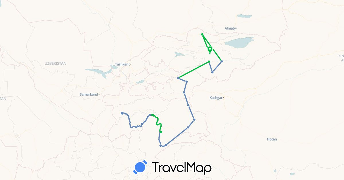 TravelMap itinerary: driving, bus, cycling in France, Kyrgyzstan, Tajikistan (Asia, Europe)